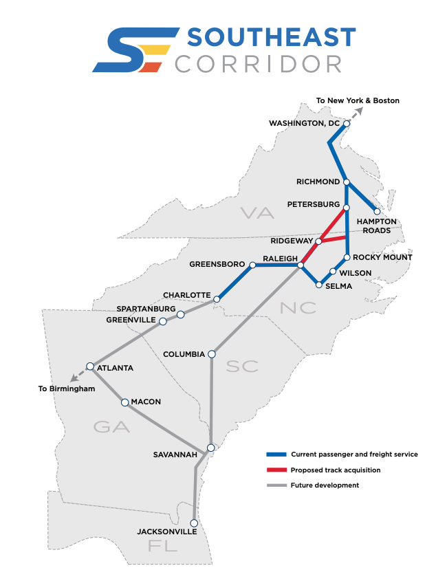 Map of the Southeast Corridor