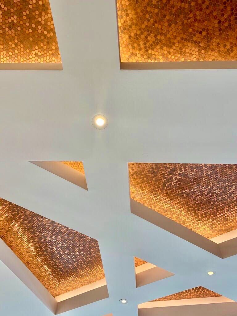 Pennies on the ceiling at Endeavor