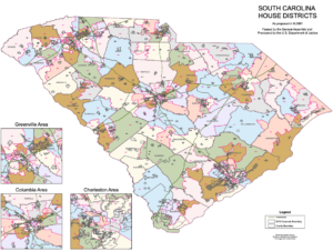 SC House of Representatives statewide districts map | Map from SCIWAY.net