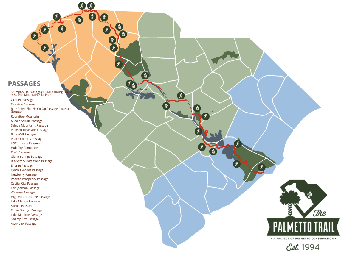 A look at the full 500 miles of The Palmetto Trail | Image via Palmetto Conservation