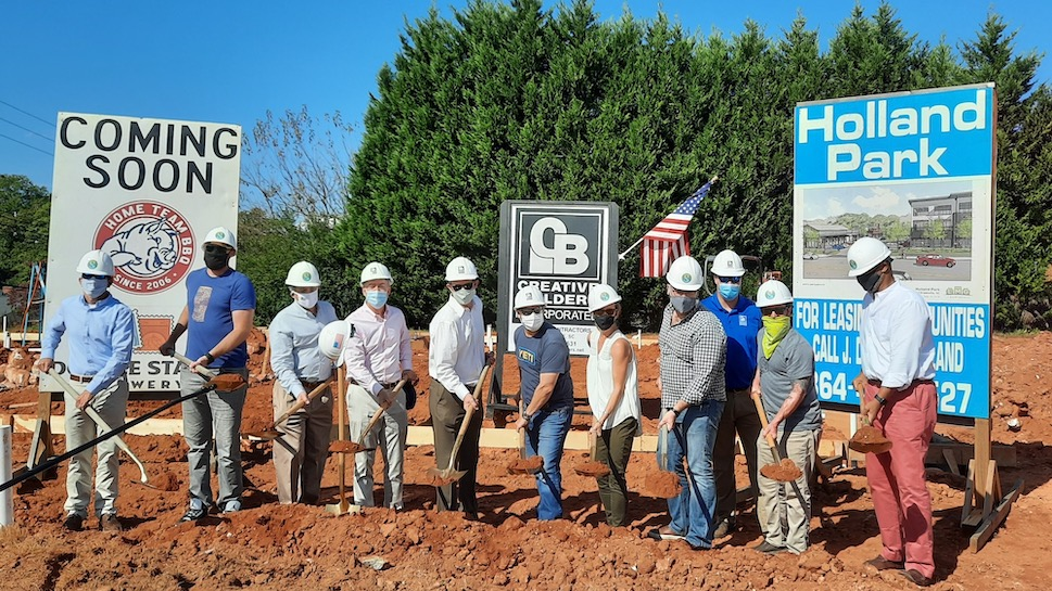 Groundbreaking with Mayor Knox White, city councilman Ken Gibson, developer J. Darryl Holland, and team members behind Home Team BBQ + Double Stamp Brewery | Photo by Sam Sudano of Wetzel Realty