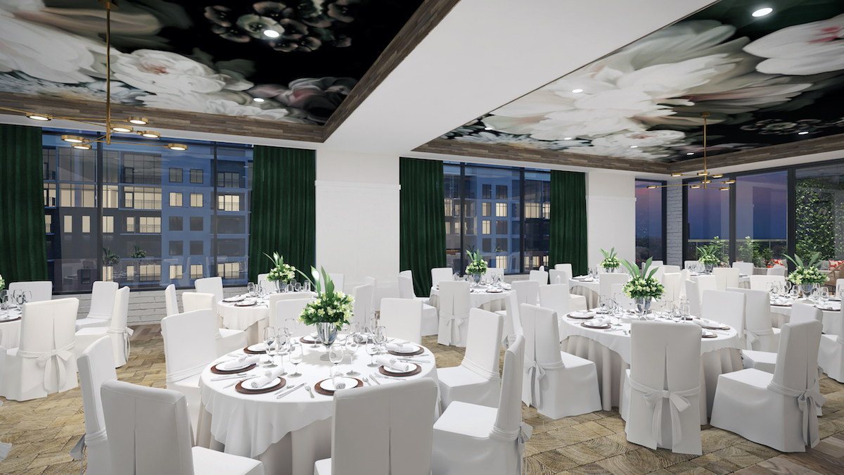 Rendering of the Jasmine Hall private event space | Courtesy of Auro Hotels