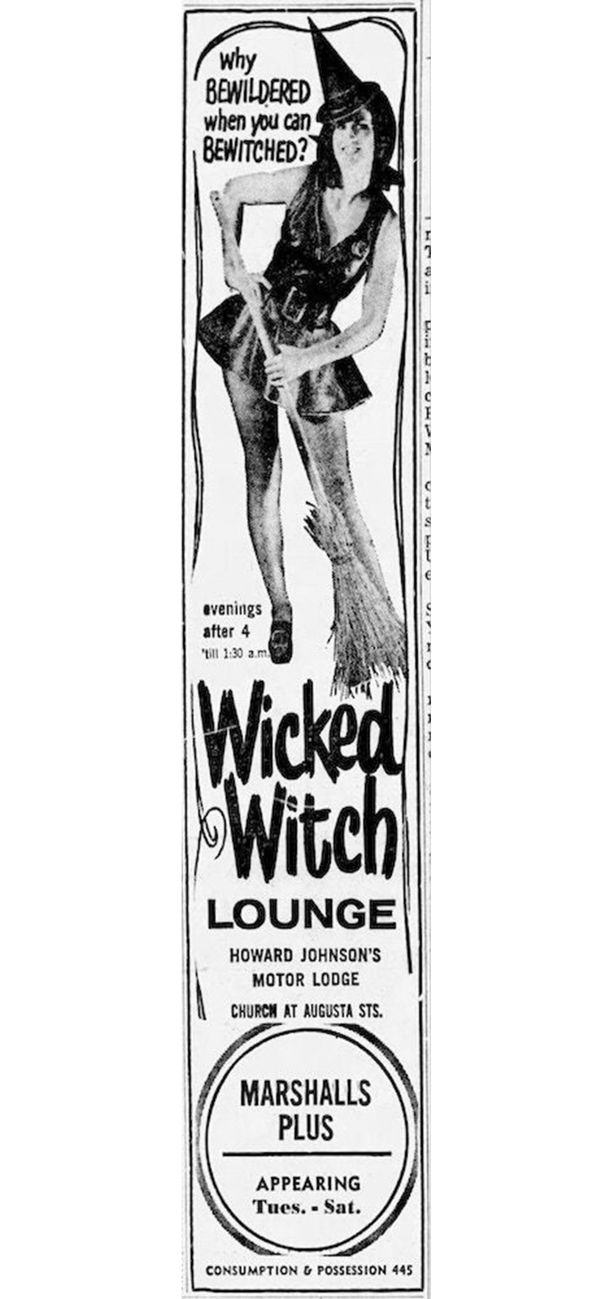 Wicked Witch Lounge ad in The Greenville News from Sept. 4, 1970