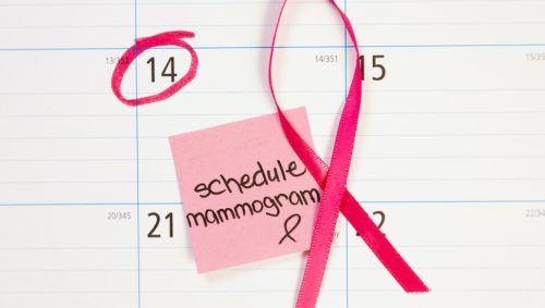 Mammogram appointment reminder note circled on calendar. Pink ribbon.Photo provided by Prisma Health