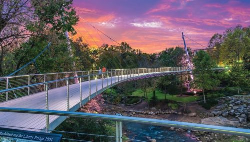 Sunset at Falls Park on the Reedy and the Liberty Bridge in Greenville