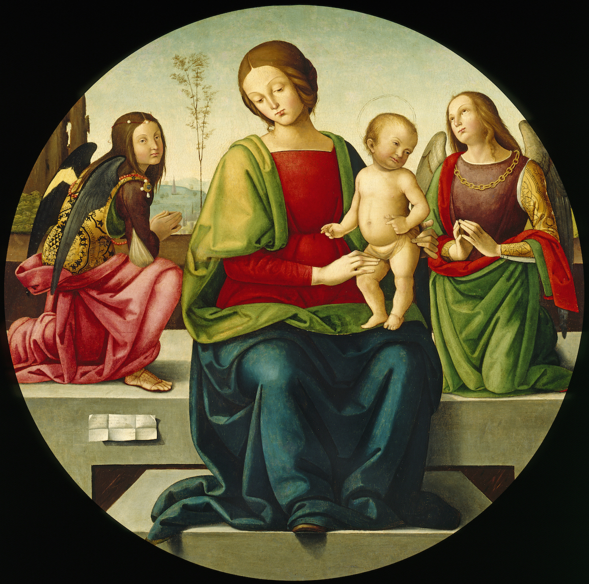 Madonna and Child with Angels by Master of the Greenville Tondo, Italian, 15th century, Oil on panel, Museum & Gallery at Bob Jones University, Greenville, SC | Photo provided by Museum & Gallery at Bob Jones University