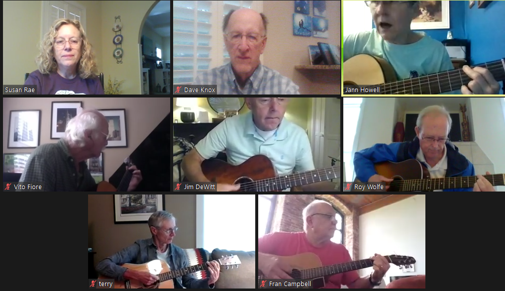 Guitar class taught via Zoom | Photo provided by OLLI