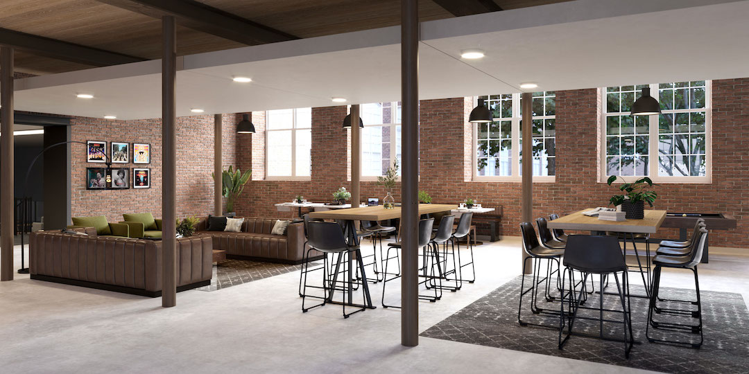 Club room at co-working space in The Lofts at Woodside Mill | Photo provided