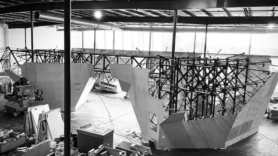 Rockoon under construction | Photo provided by Rockoon Climbing Community