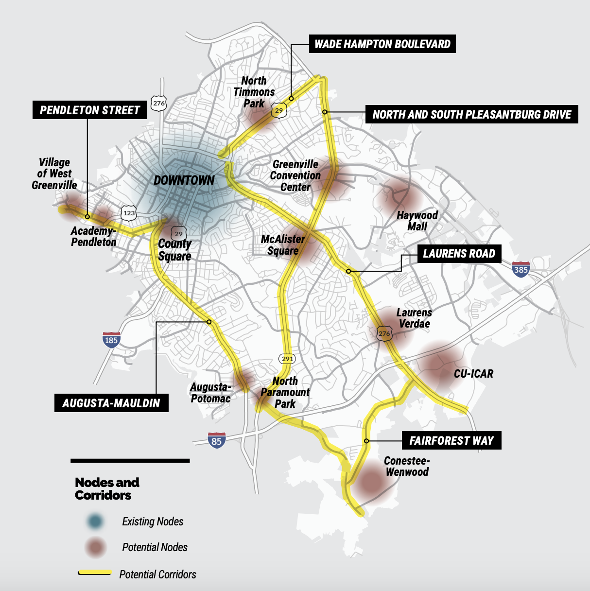 Node and corridor map from GVL2040 Comprehensive Plan