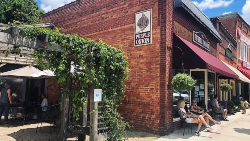 The Purple Onion in downtown Saluda, NC | Photo by @thepurpleonionsaluda