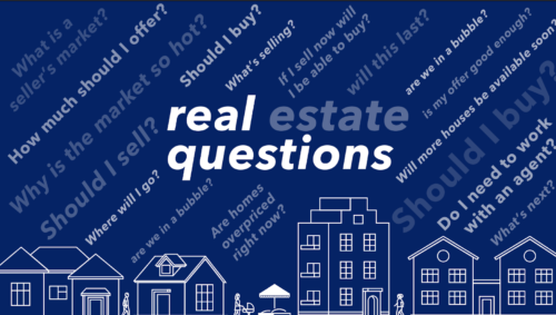 """Graphic picturing homes on a blue background and the words """"real estate questions"""""""
