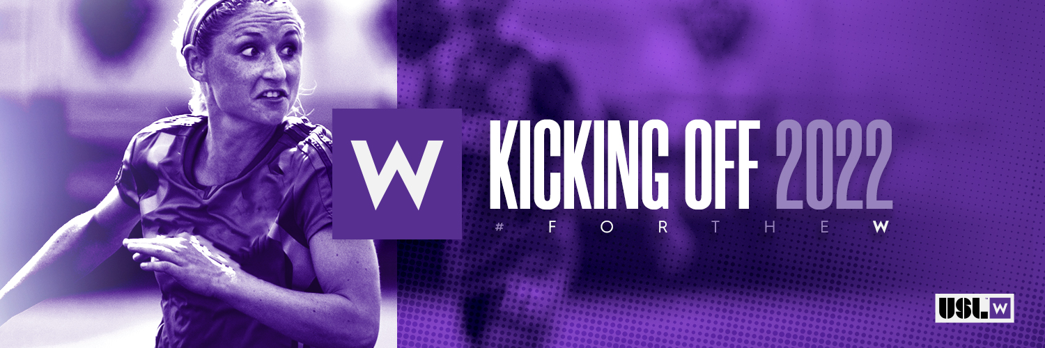 Graphic with words and woman playing soccer with purple overlay