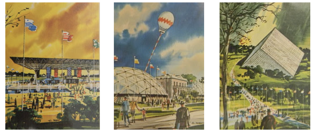 Renderings of SC's 3 Tricentennial Exposition Parks, Charleston, Columbia, and Greenville left to right   Photos via Random Connections