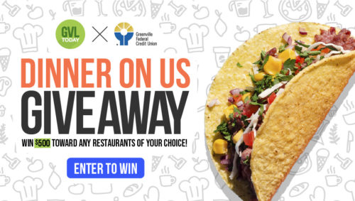 Giveaway graphic showing a tasty black bean taco